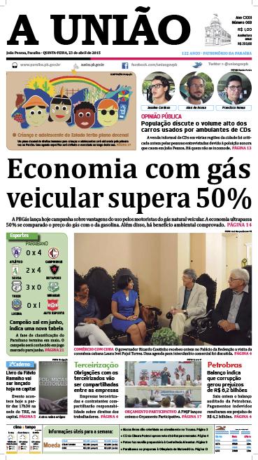 Capa A União 23 04 15 - Jornal A União