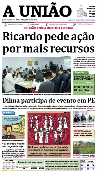Capa A União 28 04 15 - Jornal A União
