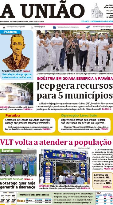 Capa A União 29 04 15 - Jornal A União