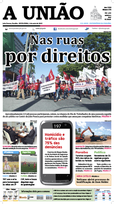 Capa A União 01 05 15 - Jornal A União
