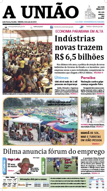 Capa A União 02 05 15 - Jornal A União