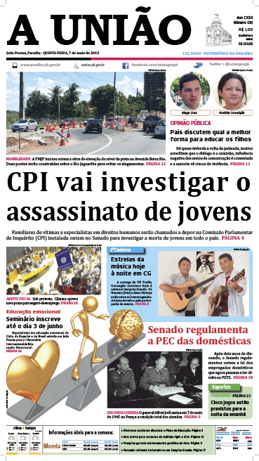Capa A União 07 05 15 - Jornal A União