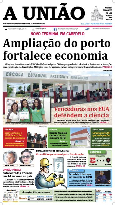 Capa A União 14 05 15 - Jornal A União