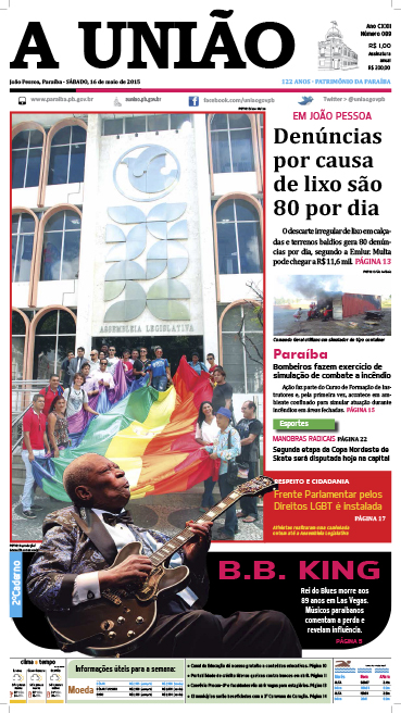 Capa A União 16 05 15 - Jornal A União