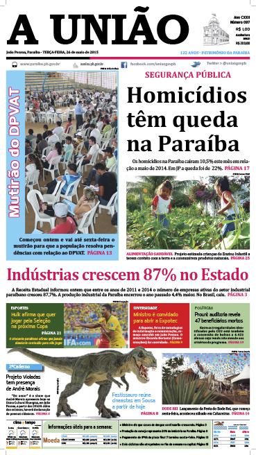 Capa A União 26 05 15 - Jornal A União