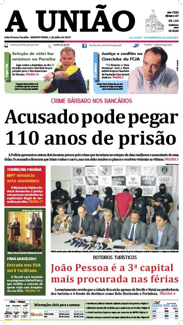 Capa A União 01 07 15 - Jornal A União