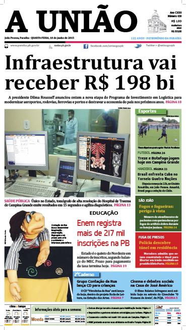 Capa A União 10 06 15 - Jornal A União