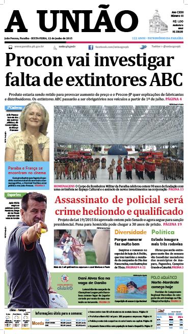 Capa A União 12 06 15 - Jornal A União