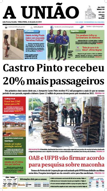 Capa A União 16 06 15 - Jornal A União