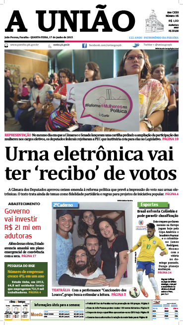 Capa A União 17 06 15 - Jornal A União