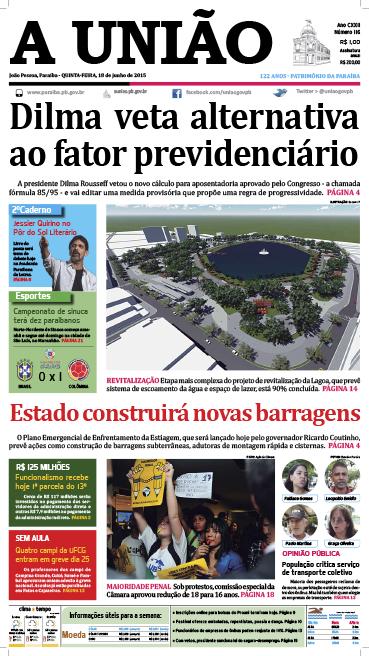 Capa A União 18 06 15 - Jornal A União