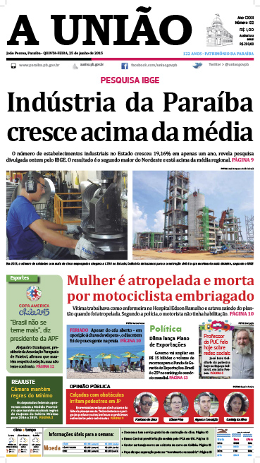 Capa A União 25 06 15 - Jornal A União