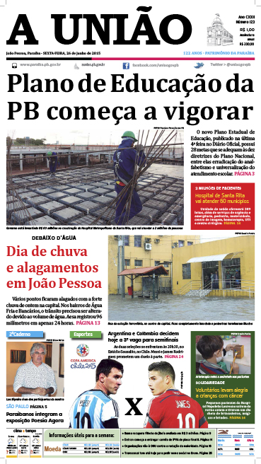 Capa A União 26 06 15 - Jornal A União