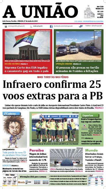 Capa A União 27 06 15 - Jornal A União