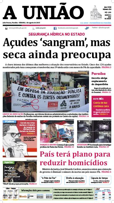 Capa A União 01 08 15 - Jornal A União