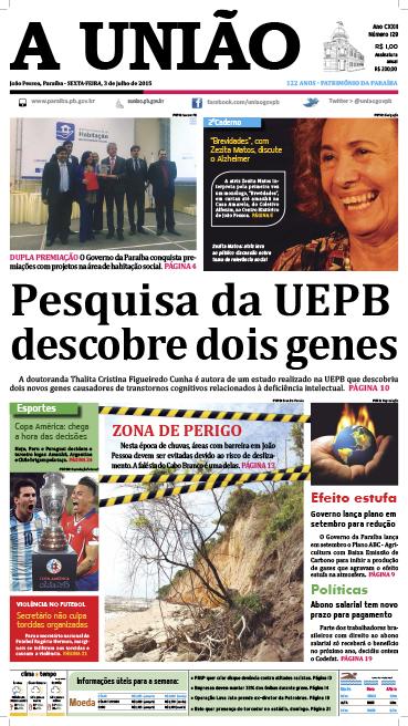 Capa A União 03 07 15 - Jornal A União