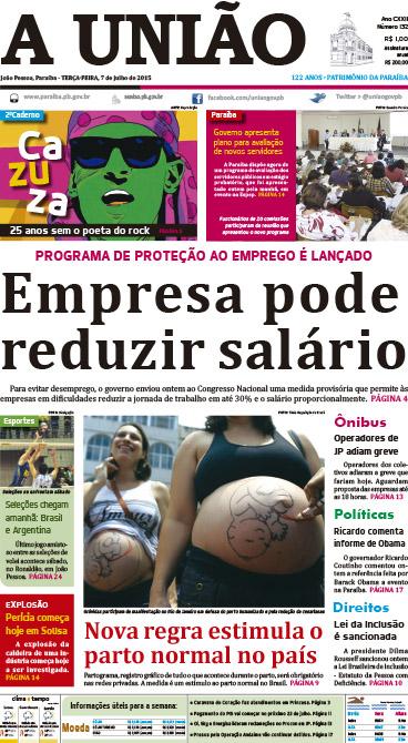 Capa A União 07 07 15 - Jornal A União