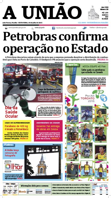 Capa A União 10 07 15 - Jornal A União