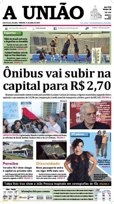 Capa A União 11 07 15 - Jornal A União