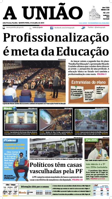 Capa A União 15 07 15 - Jornal A União