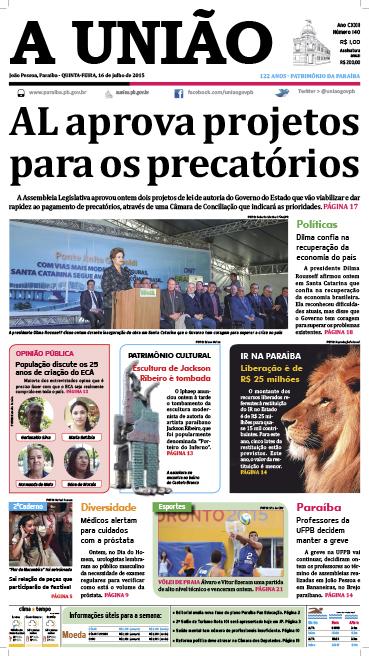 Capa A União 16 07 15 - Jornal A União