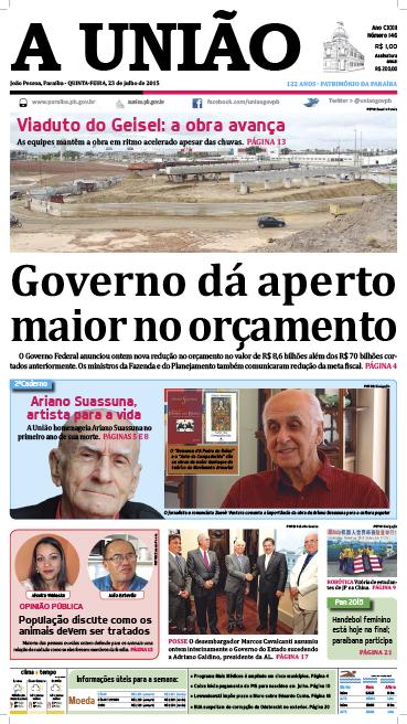 Capa A União 23 07 15 - Jornal A União