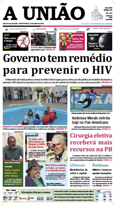 Capa A União 24 07 15 - Jornal A União