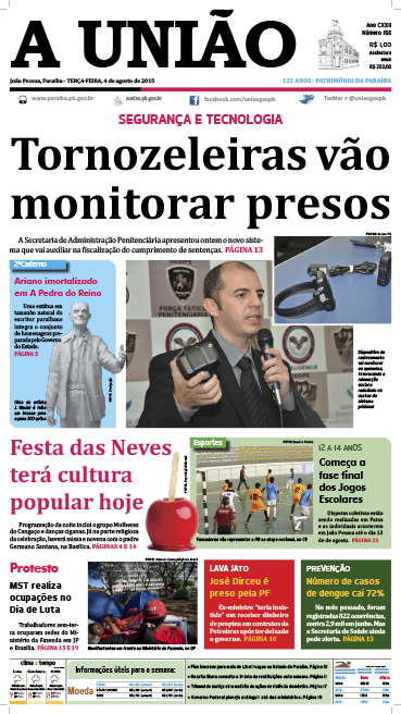 Capa A União 04 08 15 - Jornal A União