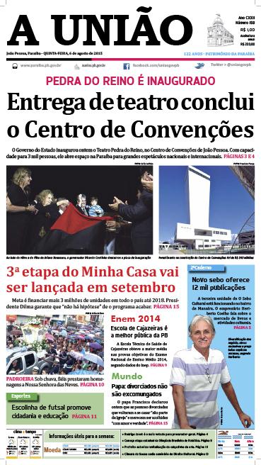 Capa A União 06 08 15 - Jornal A União
