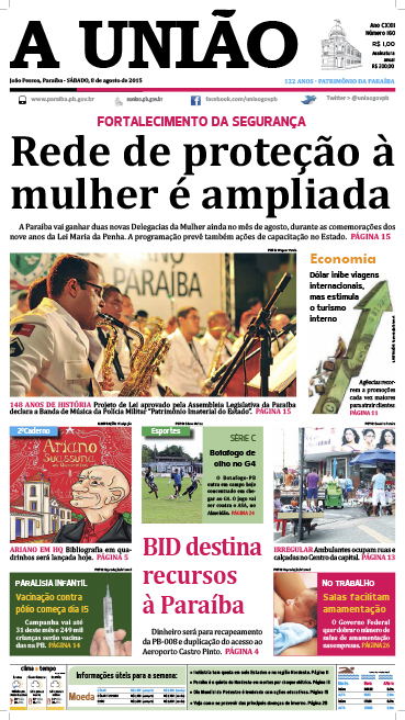 Capa A União 08 08 15 - Jornal A União