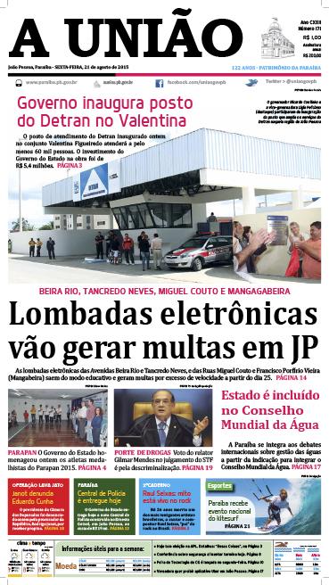 Capa A União 21 08 15 - Jornal A União