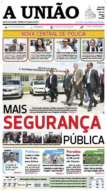 Capa A União 22 08 15 - Jornal A União