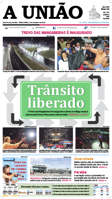 Capa A União 01 09 15 - Jornal A União