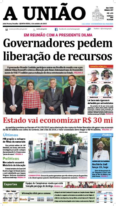 Capa A União 01 10 15 - Jornal A União