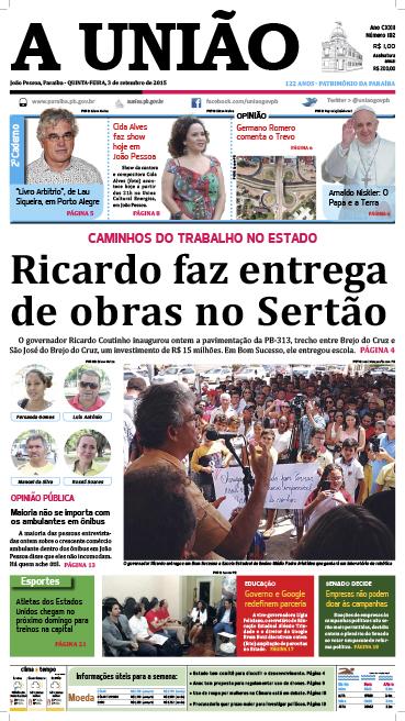 Capa A União 03 09 15 - Jornal A União