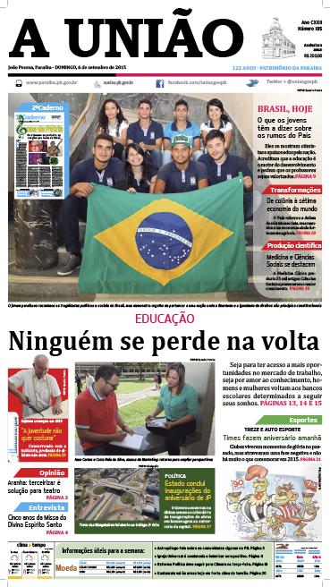Capa A União 06 09 15 - Jornal A União