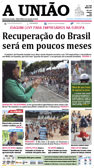 Capa A União 08 09 15 - Jornal A União