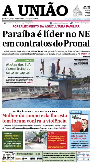 Capa A União 09 09 15 - Jornal A União