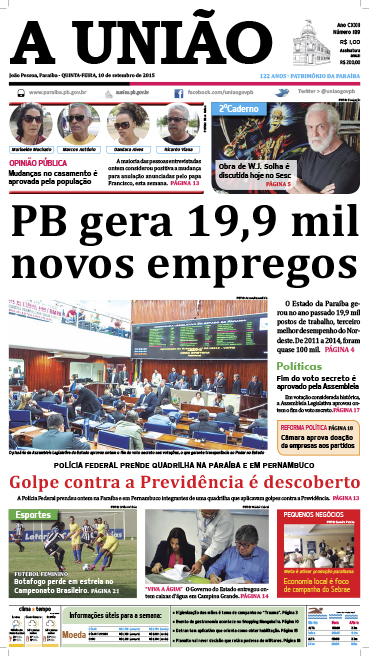 Capa A União 10 09 15 - Jornal A União