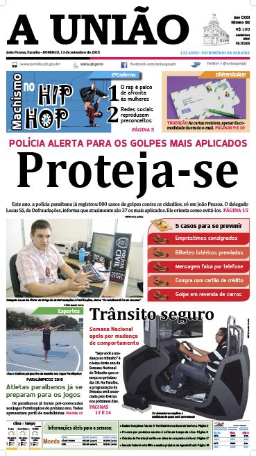Capa A União 13 09 15 - Jornal A União