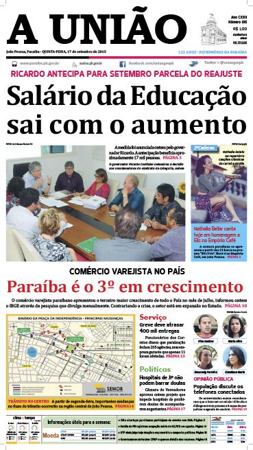 Capa A União 17 09 15 - Jornal A União