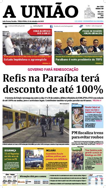 Capa A União 22 09 15 - Jornal A União