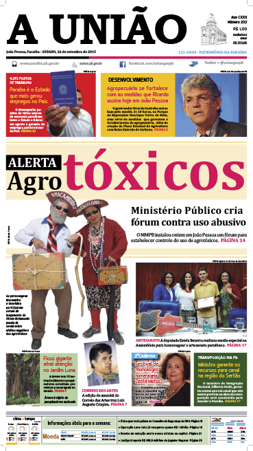 Capa A União 26 09 15 - Jornal A União