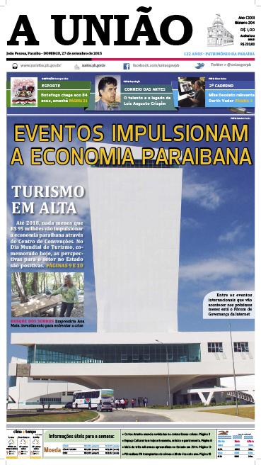 Capa A União 27 09 15 - Jornal A União