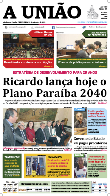 Capa A União 29 09 15 - Jornal A União