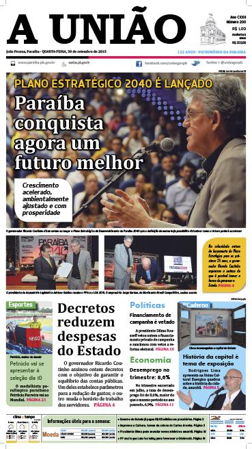 Capa A União 30 09 15 - Jornal A União