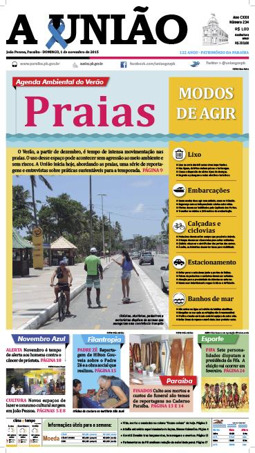 Capa A União 01 11 15 - Jornal A União