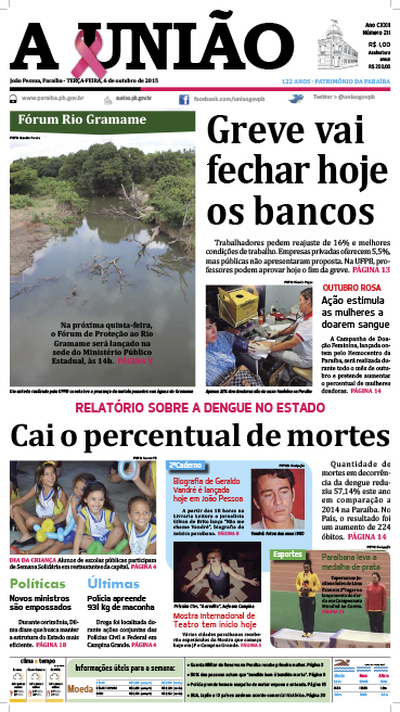 Capa A União 06 10 15 - Jornal A União