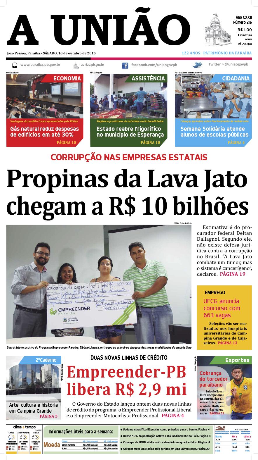 Capa A União 10 10 15 - Jornal A União