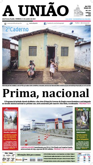 Capa A União 11 10 15 - Jornal A União
